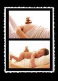 Один newborn живот младенца и беременной женщины Стоковые Фотографии RF