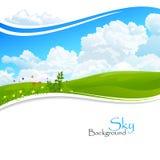 Одичалые цветки, зеленые холмы и голубое небо Стоковое Изображение