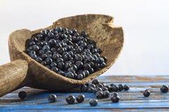 Одичалые ягоды в старые деревянные ведра Стоковые Фото