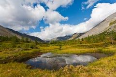 Одичалый ландшафт в горах Ural. Стоковое Фото