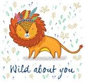 Одичалый о вас Милая иллюстрация вектора шаржа льва Стоковые Изображения