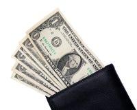 Одна банкнота доллара в бумажнике Стоковые Фото