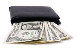 Одна банкнота доллара в бумажнике Стоковые Изображения RF