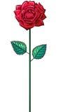 Одна красная роза на стержне Стоковое Фото