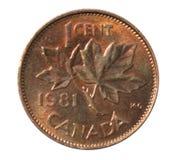 Одна монетка 1981 канадского цента Стоковое Изображение