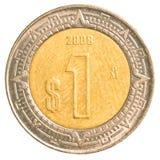Одна монетка мексиканского песо Стоковая Фотография