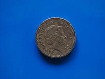 Одна монетка фунта, Великобритания в Лондоне Стоковое Изображение