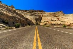 Одна дорога Миллион-доллара от Больдэра к Escalante, США Стоковые Изображения RF