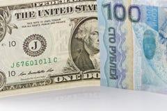Одна долларовая банкнота, 100 рублей Сочи 2014 Стоковое Изображение