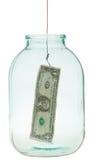 Одна приманка банкноты доллара на рыболовном крючке Стоковые Изображения RF