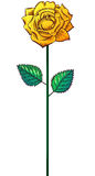 Одна роза желтого цвета на стержне Стоковая Фотография RF