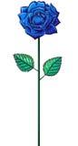 Одна роза сини на черенок Стоковые Изображения