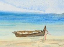 Одна рыбацкая лодка на красивой картине акварели пляжа Стоковое фото RF