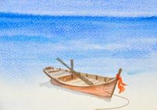 Одна рыбацкая лодка на красивой картине акварели пляжа Стоковые Изображения RF