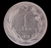 Одна старая монетка турецкой лиры, 1972 Стоковое Фото