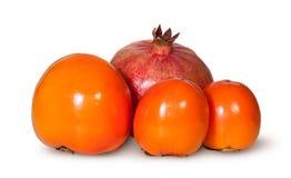 3 одних гранатового дерева плодоовощ хурмы и Стоковые Изображения RF