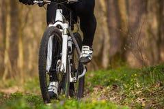 Одноколейный путь катания велосипедиста горного велосипеда Стоковая Фотография RF
