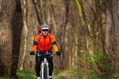 Одноколейный путь катания велосипедиста горного велосипеда Стоковое фото RF