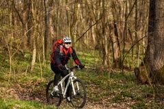 Одноколейный путь катания велосипедиста горного велосипеда Стоковые Фото