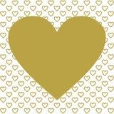 Одно большое сердце золота на много золотых сердец Стоковые Фотографии RF