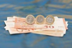 Одно греческое и одно французское евро Стоковое Фото