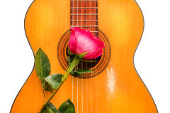 Одно подняло на старую классическую гитару Стоковое Фото