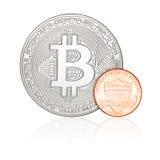 Одно цент и bitcoin Стоковая Фотография