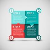 Одно 2 3 4 - шаги прогресса бумаги вектора Стоковая Фотография