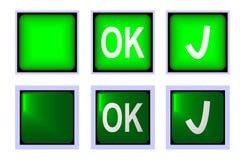 Одобренная зеленая кнопка Стоковое Фото