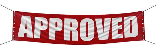 Одобренное знамя (включенный путь клиппирования) Стоковая Фотография RF