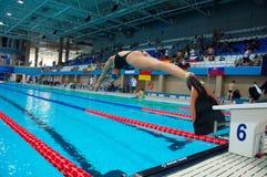 31 07 2017 до 07 08 2017 пятнадцатых чемпионатов младшего мира Finswimming |Томск Стоковое Изображение