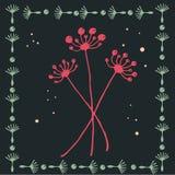 Одуванчики на карточке Стоковое Изображение