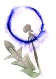 Одуванчик акварели цветет картина впечатления иллюстрация вектора