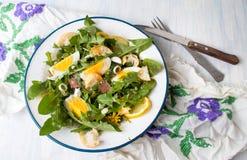 Одуванчик выходит салат еды на плиту стоковые изображения rf