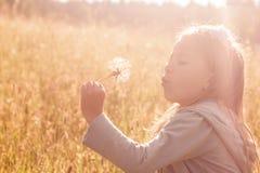 Одуванчик маленькой девочки дуя отсутствующий Стоковые Фото