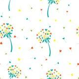 Одуванчик предпосылки вектора стилизованный в форме сердец Цветок символизирует влюбленность, приятельство и принятие Стоковое Изображение