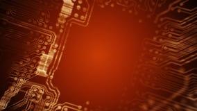 Одушевленный тоннель платы с печатным монтажом PCB технология Красный Loopable иллюстрация штока