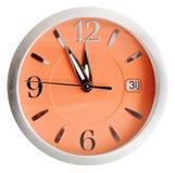 5 до 12 часов на оранжевой изолированной шкале Стоковая Фотография RF