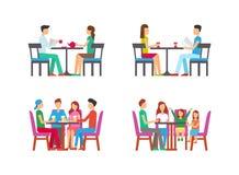 Паб и кофейня с клиентами есть обед иллюстрация штока