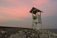 Павильон в twilight заходе солнца Стоковые Изображения