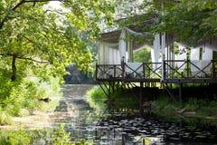 Павильон на озере с лилиями внешними Стоковое Изображение RF
