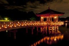 Павильон Ukimido и отражения в озере, Nara, Японии Стоковые Изображения