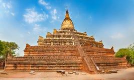 Пагода Shwesandaw в Bagan myanmar панорама Стоковая Фотография RF