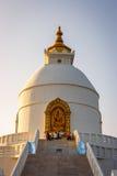 Пагода международного мира, Pokhara, Непал стоковое изображение rf