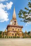 Пагода на виске Wat Chalong или Chalong в Пхукете, Таиланде Стоковая Фотография