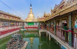 Пагода Botataung на голубом небе, Янгоне, Мьянме стоковые изображения