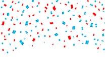 Падать торжества США красный и голубой confetti Концепция в национальных цветах для американских Дня независимости, события торже иллюстрация штока