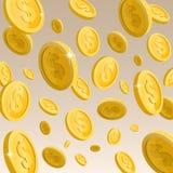 Падающ, золотые сияющие монетки Стоковое Фото