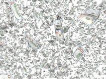 Падая банкноты изолированные на белой предпосылке Стоковые Фото