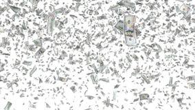 Падая банкноты изолированные на белой предпосылке Стоковое Фото
